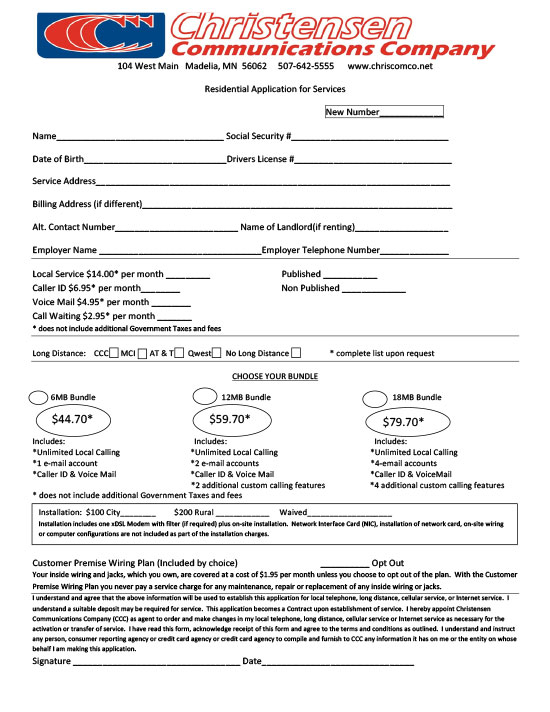 Residential Application for Services
