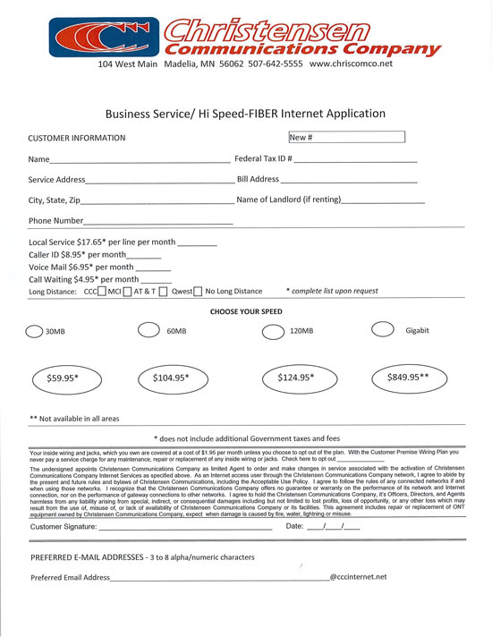 business fiber service application